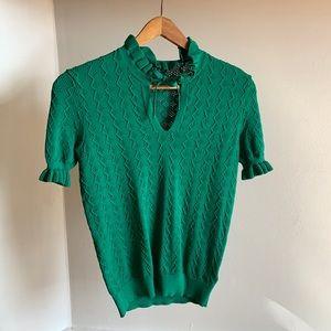 Amaryllis green ruffle knit top